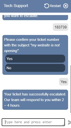 HostingRaja Ticket Escalate